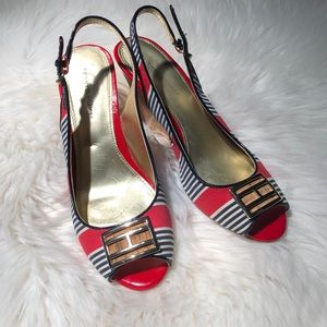 Tommy Hilfiger red, white and blue wedges